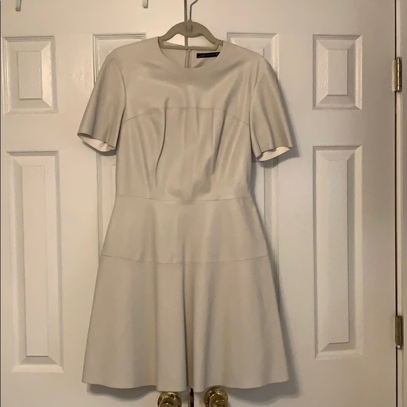 Zara Dresses & Skirts - Faux Leather Cream Stitched Cream Dress